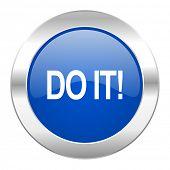 do it blue circle chrome web icon isolated
