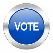 vote blue circle chrome web icon isolated