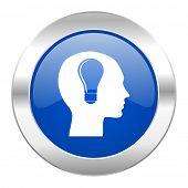 head blue circle chrome web icon isolated