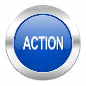 action blue circle chrome web icon isolated