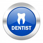 dentist blue circle chrome web icon isolated