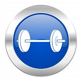 fitness blue circle chrome web icon isolated