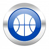 ball blue circle chrome web icon isolated