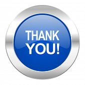 thank you blue circle chrome web icon isolated