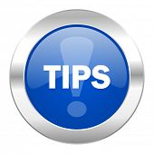 tips blue circle chrome web icon isolated