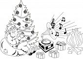 Santa Claus sitting on the bag with gifts and listening to music on the old gramophone