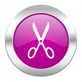 scissors violet circle chrome web icon isolated