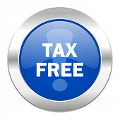 tax free blue circle chrome web icon isolated