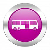 bus violet circle chrome web icon isolated