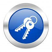 keys blue circle chrome web icon isolated