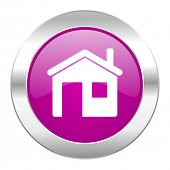 house violet circle chrome web icon isolated