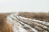 Rural dirt road in winter
