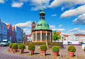 Market Square in the Old Town of Wismar, Germany