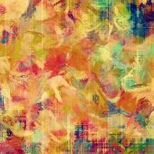 Grunge background with vintage and retro design stains. With yellow, red, orange, green patterns