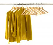 female clothes and Wooden hanger rack display
