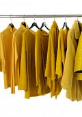 female yellow clothing on display