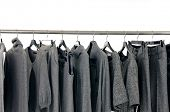 Fashion gray female clothes rack display