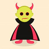 Halloween party celebration concept with cartoon of devil on beige background.