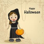 Little witch holding a pumpkin and spider web for Halloween party celebration on beige background.