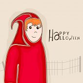 Happy Halloween party celebration poster, banner or background with a boy in traditional ghost costume on beige background.