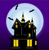 Haunted house with flying bird and moon on purple background for Halloween concept.