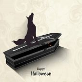 Silhouette of a fox sitting on grave box on stylish beige background for Halloween party celebration