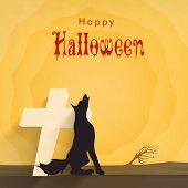 Scary silhouette of fox with cross for Halloween party celebration on stylish yellow background, can be use as poster, banner or flyer.