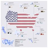 Dot And Flag Map Of America Infographic Design