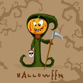 Traditional ghost in pumpkin face holding axe and skull for Halloween party celebration on scary background.