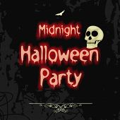 Midnight Halloween party celebration poster, banner or invitation with scary skull.