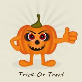 Funny pumpkin cartoon character showing thumbs up for Trick Or Treat party celebration, can be use as poster, banner or flyer.
