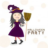 Little witch holding a horn broom for Happy Halloween party celebration on beige background, can be use as poster, banner or flyer.
