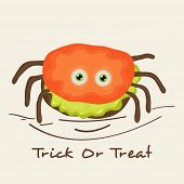 Poster, banner or invitation for Trick Or Treat party celebration with scary colorful spider on beige background.