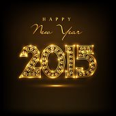 stock photo of golden  - Beautiful golden text 2015 on  brown background for Happy New Year 2015 celebrations - JPG