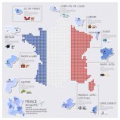 Dot And Flag Map Of France Infographic Design