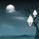 Traditional ghost on scary night view blue background, can be use as poster, banner or flyer for Halloween party celebration.