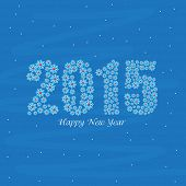 Happy New Year 2015 celebrations greeting card design with stylish text on blue background.