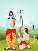 Hindu mythological Lord Rama giving blessings and Hanuman on nature background for Happy Diwali cele