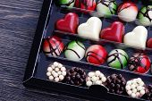 chocolates confectionery in gift box - sweet food