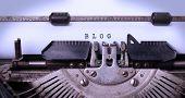 foto of old vintage typewriter  - Vintage inscription BLOG made by old typewriter blog - JPG