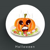 Sticker, tag or label for Halloween party celebration with pumpkin and salad plate on dark grey background.