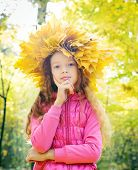 Child With Wreath Of Autumn Leaves