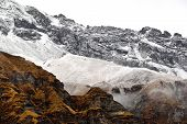 image of avalanche  - Annapurna Base Camp part of Annapurna Circuit trekking route is often covered by avalanches