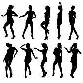 picture of strip tease  - Beautiful women dancing silhouette isolated - JPG