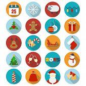 Christmas flat icons set. Vector illustration