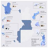 Dot And Flag Map Of Finland Infographic Design