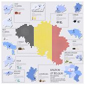 Dot And Flag Map Of Belgium Infographic Design