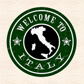 Welcome To Italy Stamp