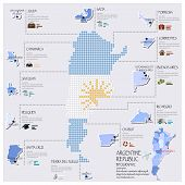 Dot And Flag Map Of Argentina Infographic Design