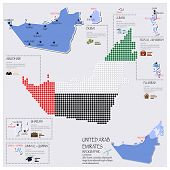 Dot And Flag Map Of United Arab Emirates Infographic Design